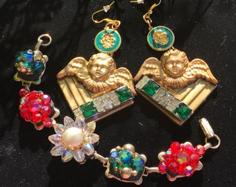 Custom Baroque Princess Vintage Cherub Brass Angels and CRYSTAL Earring bracelet Set. Miriam Haskell Earrings. Gold filled hooks.