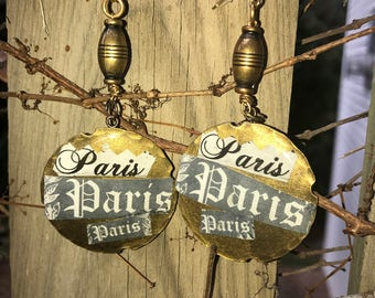 Solid brass Decoupaged PARIS Paris PaRis ephemra hoop dangle earrings.14k gold fill . Art deco . one of a kind Jewelry .The Baroque Princess