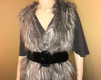 Vintage Republic Faux Pheasant Feathers Sweater Vest . Size Medium. SHABBY Shiek. BOHO Chic. Hippie Shiek sweater vest. Grey .Beige. Brown