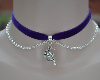 """PURPLE 3/8"""" 10mm Velvet Ribbon Choker Necklace With Fairy Moon Charm & Chain Drapes -xs.. 16 colours, handmade to size :)"""