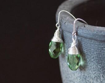 Green Swarovski Crystal Drop Earrings Birthday Gift Green Earrings Swarovski Jewelry Small Gift For Girlfriend