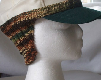 Baseball cap ear warmer extension, baseball cap extension, knit, stretchy, warm, headband