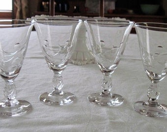 4 Vintage Tiffin Crystal Enchanting Orchid Pattern Wine Glasses For Nancy Prentiss Circa 1957-65