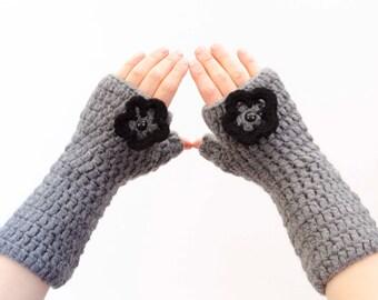 Crocheted fingerless gloves in dark grey  -  COLOR OPTION AVAILABLE