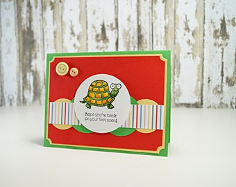 Get Well Soon -  Tortoise - Friend Messages - Turtle Card - Cancer Get Well - Support card - Card For Friend - Thinking Of You - Bright Card