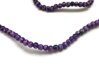100 Purple Mottled Glass Beads, Purple Mottled Glass Beads, Round Glass Beads 4mm G 50 045
