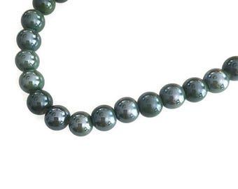 3 Olive Green Ceramic Round Beads, Glazed Ceramic Beads, Round Ceramic Ball Beads 10mm C 10 444