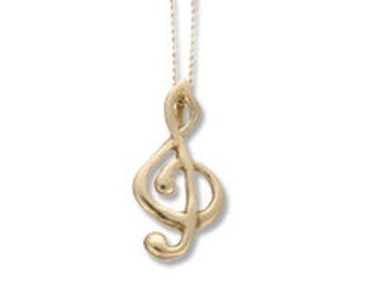 14k Yellow gold VERMEIL G-Clef Musical Necklace, Music Note Necklace, Gold Necklace, layered necklace, music gift, musician necklace, unique