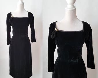 Vintage 1950s Black Velvet and Silk Party Dress by Rappi