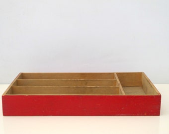 Vintage Primitive Red Wooden Divided Box Silverware Cutlery Tray