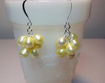 30% OFF SALE thru Mon Yellow Cultured Pearl Cluster Earrings, Short, Valentines Mothers Day Spring Birthday Bridesmaid Mom Sister Girlfriend