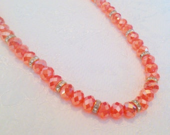 Vintage Faceted Orange Glass Crystal and Rhinestone Necklace