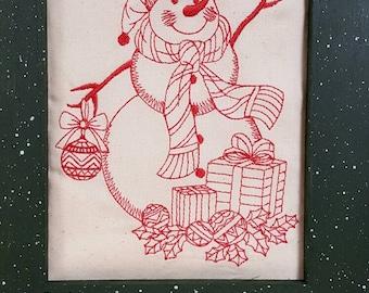 Redwork Snowman Framed Art, Folk Art Snowman, Rustic Redwork Snowman, 5 x 7 Fabric Art
