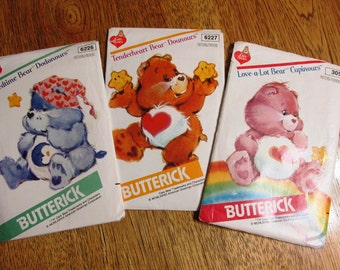 AUTHENTIC Stuffed Care Bear - CHOOSE Your Bear - (Bedtime / Tenderheart / Love-a-Lot) - VINTAGE Sewing Pattern Butterick 6226 / 6227 / 305