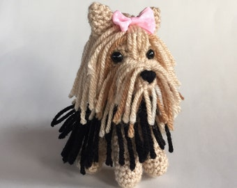Yorkie Amigurumi - hand crocheted dog - collectible - made to order