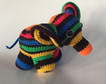Crocheted Elephant - Primary Colors - Nursery decor -  Amigurumi - made to order