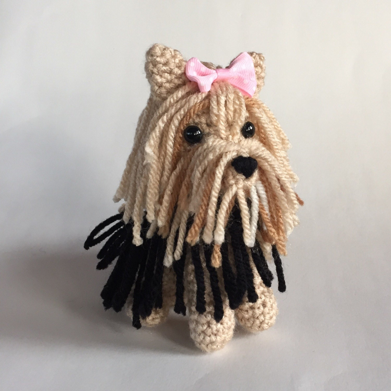 Amigurumi Crochet Yorkie : Yorkie Amigurumi hand crocheted dog collectible made to