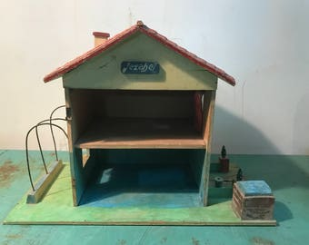 Vintage wooden Dollhouse, small wood  cottage, handcrafted, play house