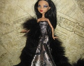 Gown for Monster High Doll Gold Black Knit