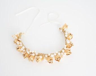 Tulip Crown Headpiece, bridal crown, weding headband,  Hpb170619