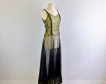 Antique 30s vintage black and gold sheer evening dress - 1930s floor length Boardwalk Empire / Gatsby formal party dress - small