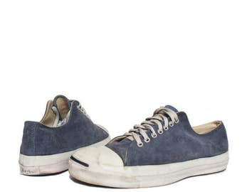 SALE 12 | Vintage Converse Jack Purcell Low Top Sneakers Blue Suede Made in USA