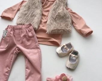 Baby Corduroy Pants, Pink Toddler Pocket Pants, Handmade