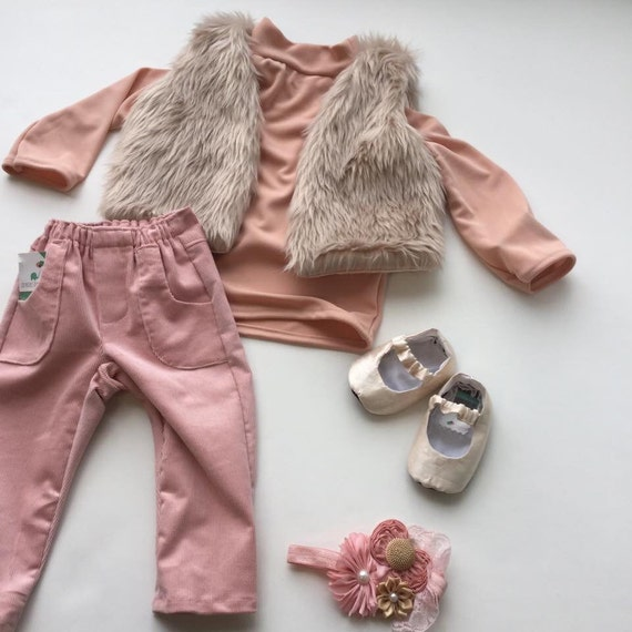 Baby Corduroy Pants, Pink Toddler Pocket Pants, Handmade