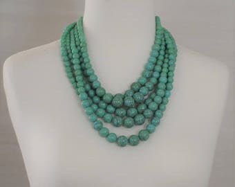 SALE-Bib Necklace, Layered Necklace, Turquoise Necklace, multi-strand necklace, Gift for her, Everyday use, Short necklace