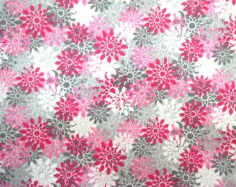 Destash Flannel Fabric in a Pink and Grey Starburst Flower Print 1 Yard