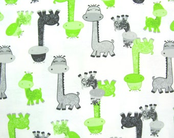 Flannel Fabric by the Yard in a Bright Fun Giraffe Family Print 1 Yard