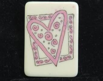 Vintage Sweet Heart Design on Lucite Domino Brooch