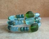 Blue and Green Sea Glass Bracelet:  Emerald Isle Wrap Bracelet, Autumn Beach Jewelry, Ocean Surf Stacked Cuff