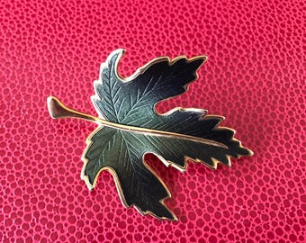 Vintage Deep Green and Gold Tone Guilloche Enamel Maple Leaf Brooch
