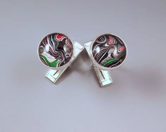 Harley Davidson- Fordite Cufflinks- Vivid Swirls- Michigan Jewelry- Men's Jewelry- Sterling Silver Cuff Links