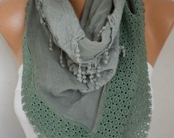 ON SALE --- Sage Green Ombre Scarf, Fall Winter,Oversize Scarf,Cowl Scarf Gift Ideas for Her Women Fashion Accessories,christmas gift