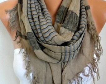 ON SALE --- Stone Cotton Tartan Unisex Scarf,Teacher Gift, Fall Winter Shawl, Plaid Cowl Men Gift Ideas For Her For Him Women Fashion Access