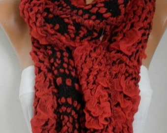 ON SALE --- Red Black Scarf, Fall Winter Accessories,  Cowl Scarf Shawl Cotton Scarf Gift Ideas For Her Women Fashion Accessories Women Scar