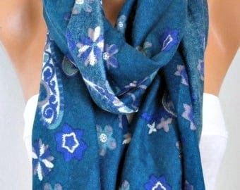ON SALE --- Teal Paisley Scarf ,Shawl,Cowl Scarf Bridesmaid Gift,Birthday Gift, Gift For Her Women Fashion Accessories,Mother's day gift