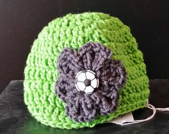 Seattle Sounders Beanie Hat with flower, button, crochet, colorful, white, large flower, soccer, warm, weather, cold, snow, messy bun hat