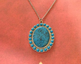 Faux Turquoise Medallion Pendant on a Long Chain