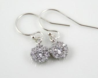 CZ tiny drop earrings, cubic zirconia round dangle earrings, sterling silver diamond earrings, gold filled diamond earrings