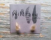 TINY RAW MOONSTONE Crystal Stud Earrings