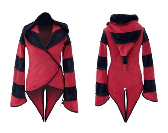 2 Tone fleece 'Azimae' Tail Jacket. 6 stripe Positively Pixie Hood/ 6 stripe Sidhe Sleeves