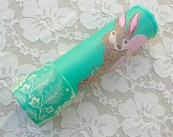 SUMMER SALE Rabbit Kaleidoscope, child's kaleidoscope, child's toy, Easter Bunny & Easter Egg,  vintage