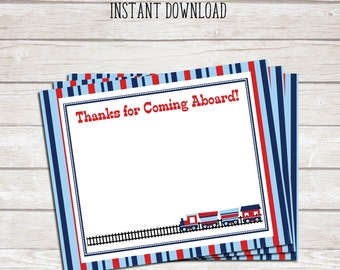 Train Themed Birthday Party Thank You Note- Train Ticket - DIY- Print at Home - Instant Download