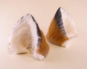 Small Fox Brown White Black Long Fur with Inner White Rabbit Puffs Leather Fox Ears Kitsune Cosplay Furry Goth Fantasy LARP Costume Pet Play