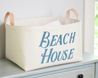Beach House Canvas Storage Bin with Veg Leather Handles