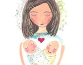 Twins twin babies print mom and child poster art new mum
