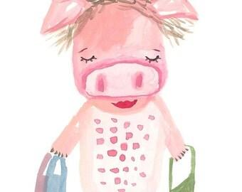Pig print, pig art, art for kids room, nursery wall art